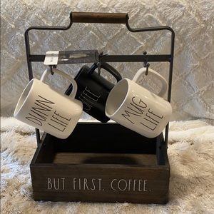 🎀NEW Rae Dunn Mug Holder AND 3 Mugs Set